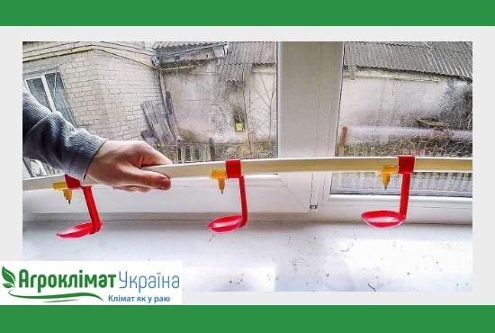 Практичная и простая в установке ниппельная поилка для птиц на ферме